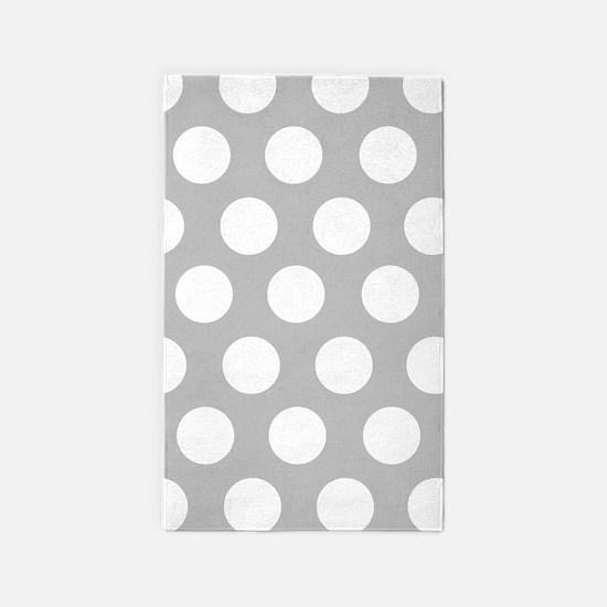 Grey large polka dot 3'x5' Area Rug