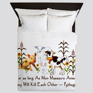 Pythagoras Vegetarian Quote Queen Duvet