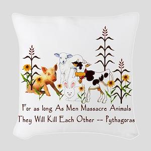 Pythagoras Vegetarian Quote Woven Throw Pillow
