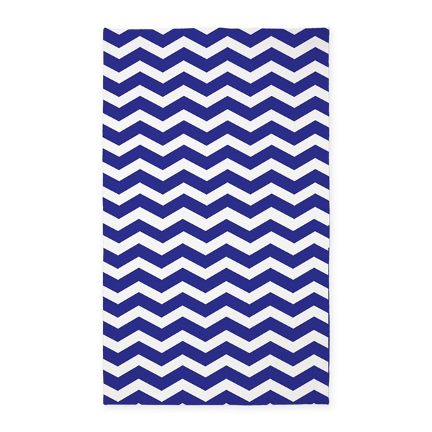Chevron Rug Navy: Navy Blue And White Chevron 3'x5' Area Rug By