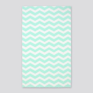 Mint and white Chevron 3'x5' Area Rug