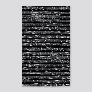Black Musical notes 3'x5' Area Rug