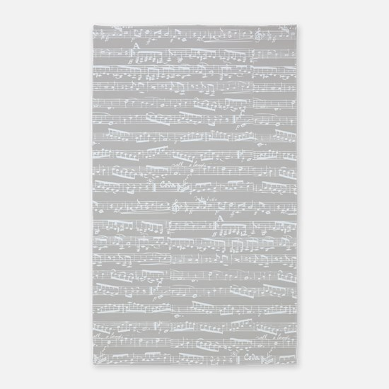 Gray Musical notes 3'x5' Area Rug