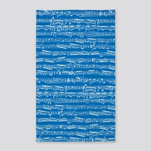 Blue Musical notes 3'x5' Area Rug