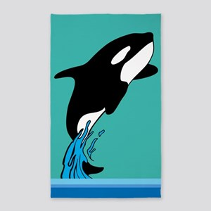 Leaping killer whale 3'x5' Area Rug