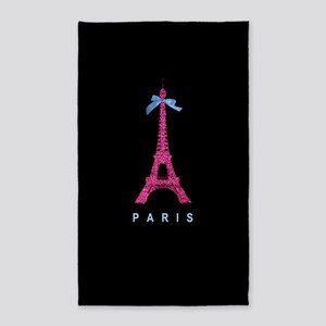 Hot pink Paris Eiffel tower 3'x5' Area Rug