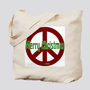 Merry Christmas Red Peace Sign Tote Bag