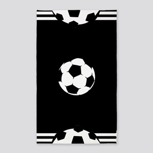 Black soccer ball 3'x5' Area Rug