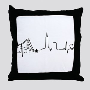 San Francisco Heartbeat (Heart) Throw Pillow