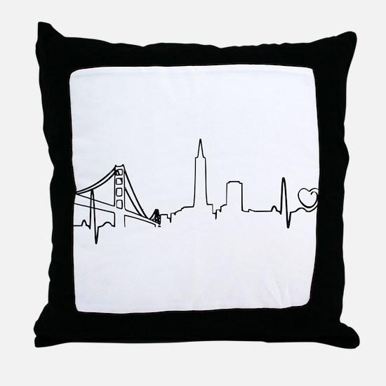 San Francisco Heartbeat (Heart) Throw Pillow