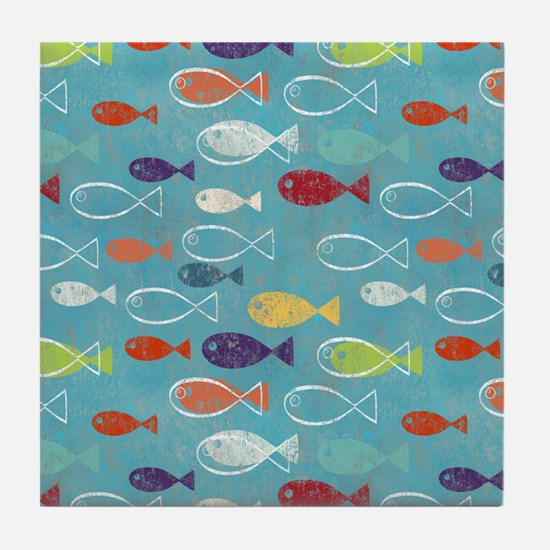 Cute Summer Beach Fish Tile Coaster