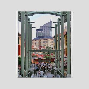 Chinatown Station - Singapore Throw Blanket