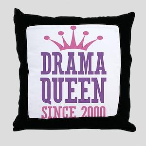 Drama Queen Since 2000 Throw Pillow