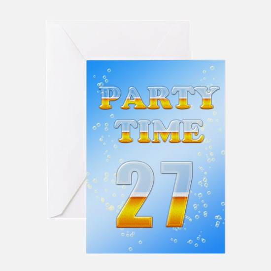 27th birthday party beer Greeting Card