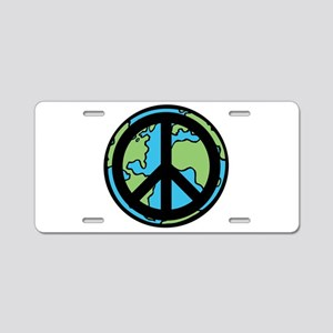 Peace on Earth in Black Aluminum License Plate