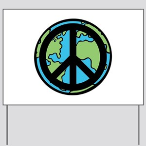 Peace on Earth in Black Yard Sign