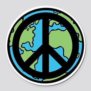 Peace on Earth in Black Round Car Magnet