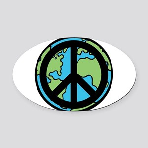 Peace on Earth in Black Oval Car Magnet