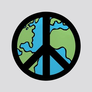 """Peace on Earth in Black 3.5"""" Button"""