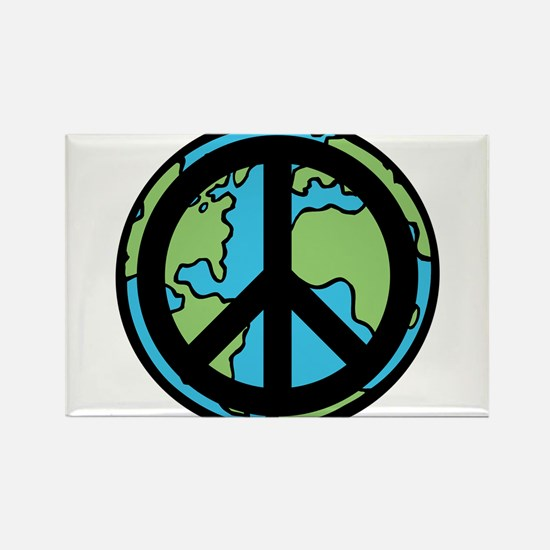 Peace on Earth in Black Rectangle Magnet (100 pack