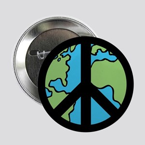 """Peace on Earth in Black 2.25"""" Button"""