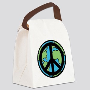 Peace on Earth in Black Canvas Lunch Bag