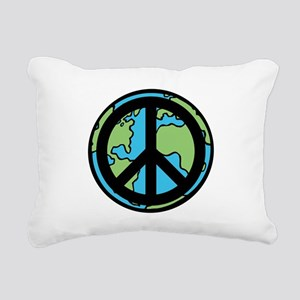 Peace on Earth in Black Rectangular Canvas Pillow