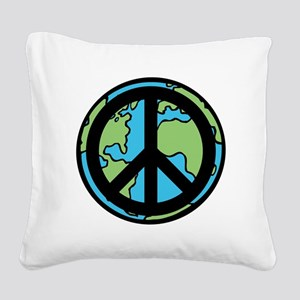 Peace on Earth in Black Square Canvas Pillow
