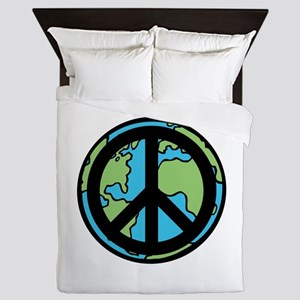 Peace on Earth in Black Queen Duvet