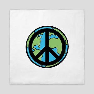 Peace on Earth in Black Queen Duvet