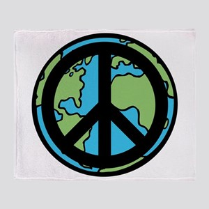 Peace on Earth in Black Throw Blanket