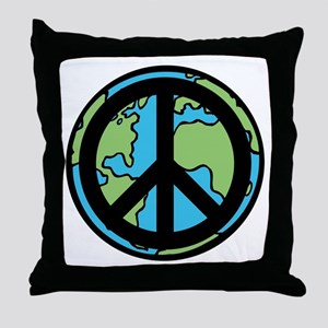 Peace on Earth in Black Throw Pillow