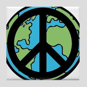 Peace on Earth in Black Tile Coaster