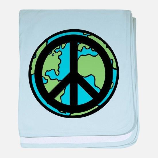 Peace on Earth in Black baby blanket