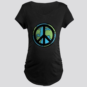 Peace on Earth in Black Maternity T-Shirt