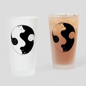 Ying Yang Akita Drinking Glass