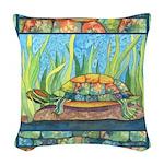 Tie Dye Turtle Watercolor Woven Throw Pillow