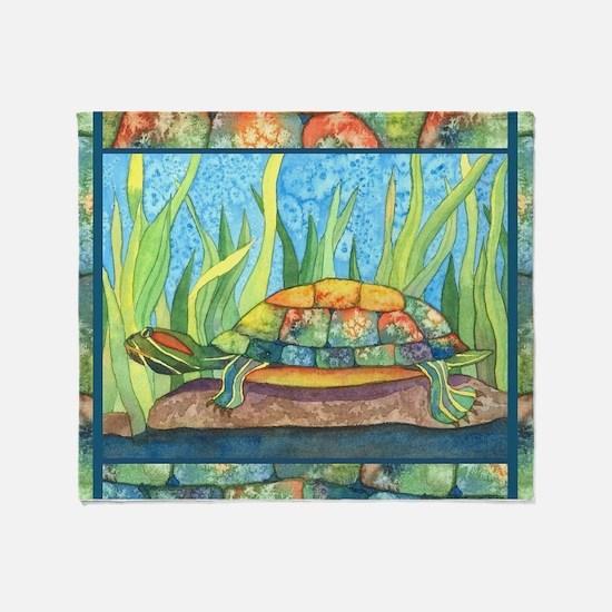 Tie Dye Turtle Watercolor Throw Blanket