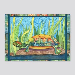 Tie Dye Turtle Watercolor 5'x7'Area Rug