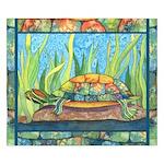 Tie Dye Turtle Watercolor King Duvet Cover