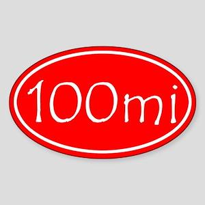 Red 100 mi Oval Sticker