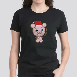 Cute Pig Baby's First Christmas Women's Dark T-Shi