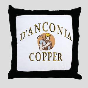 d'Anconia Copper Retro Miner Throw Pillow