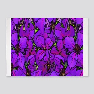 Purple Clematis Flower 5'x7'Area Rug