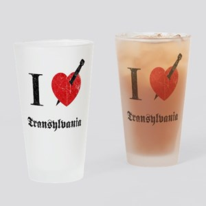 I love Transylvania (eroded) Drinking Glass