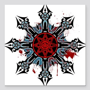 """Cross of Chaos Square Car Magnet 3"""" x 3"""""""