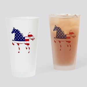 Patriotic American Gaited Horse Drinking Glass