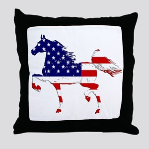 Patriotic American Gaited Horse Throw Pillow