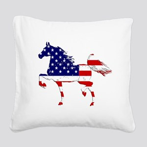 Patriotic American Gaited Horse Square Canvas Pill