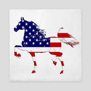 Patriotic American Gaited Horse Queen Duvet
